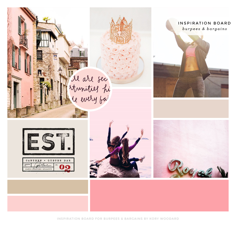 inspiration board for burpees & bargains by kory woodard