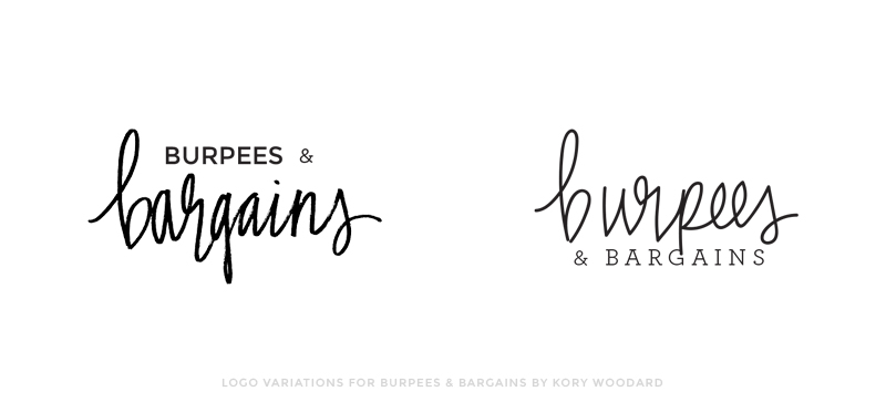 logo variations for burpees & bargains | by kory woodard