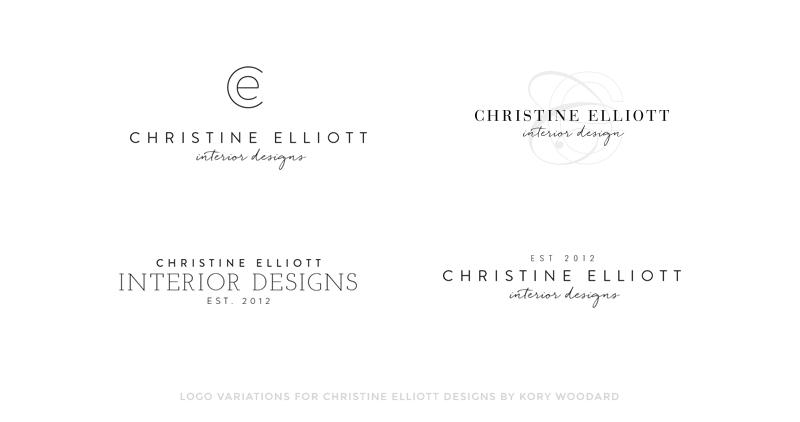 logo variations for christine elliott designs by kory woodard