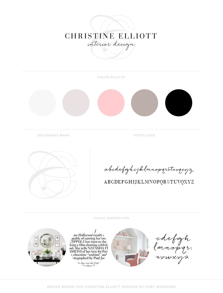 brand board for christine elliott designs by kory woodard
