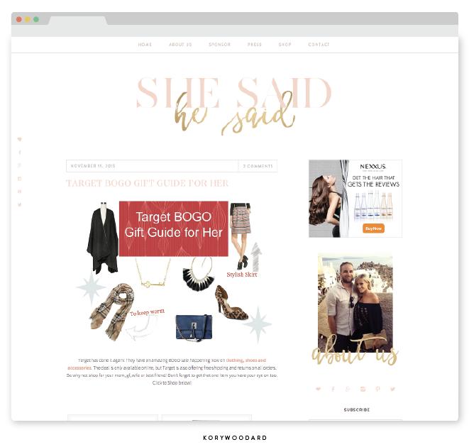 She Said He Said | branding + blog design by Kory Woodard
