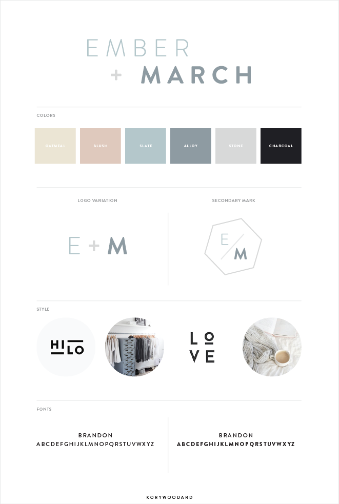 Ember + March brand board by Kory Woodard