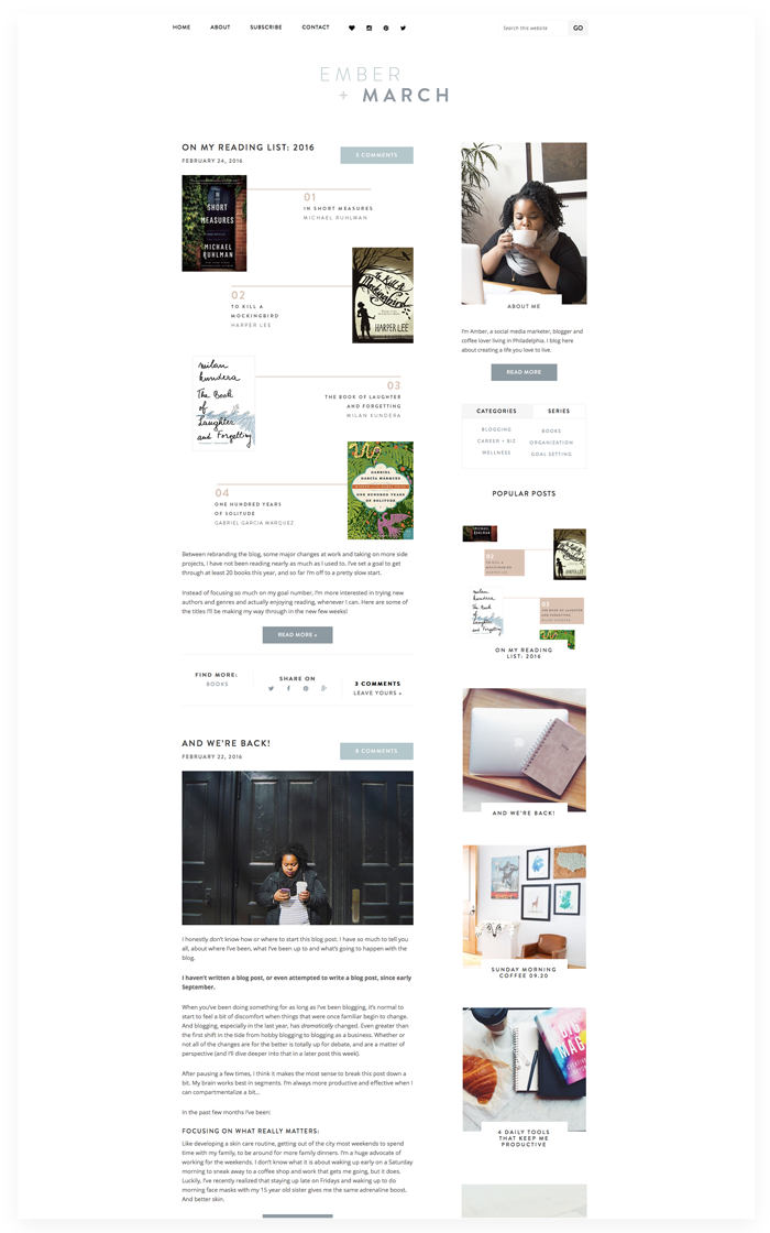 Ember + March blog design by Kory Woodard