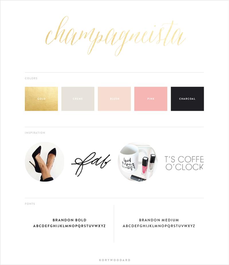 Champagneista brand board by Kory Woodard
