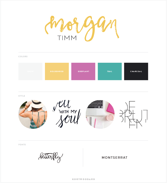 Morgan Timm Brand Board by Kory Woodard